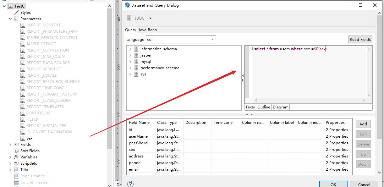 JDBC of Jaspersoft Data Source