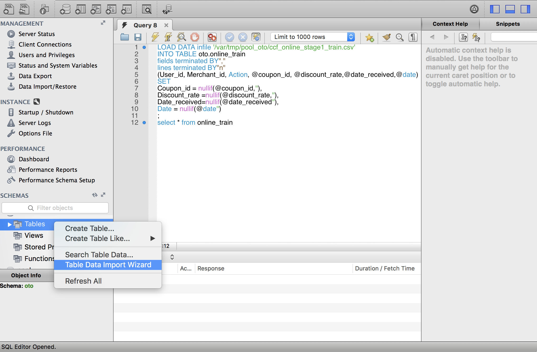 On mac, import csv files into MySQL, ERROR 1290 (HY000