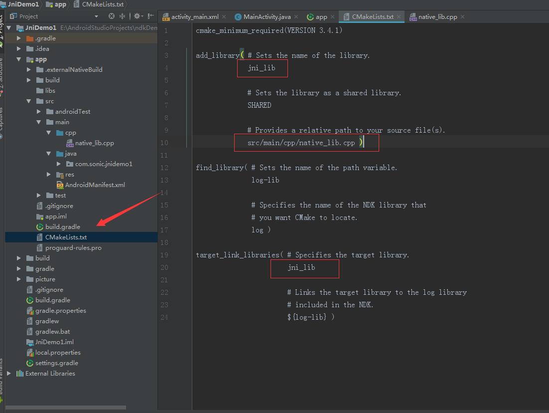 Android jni development-2 (add jni that supports cmake compilation