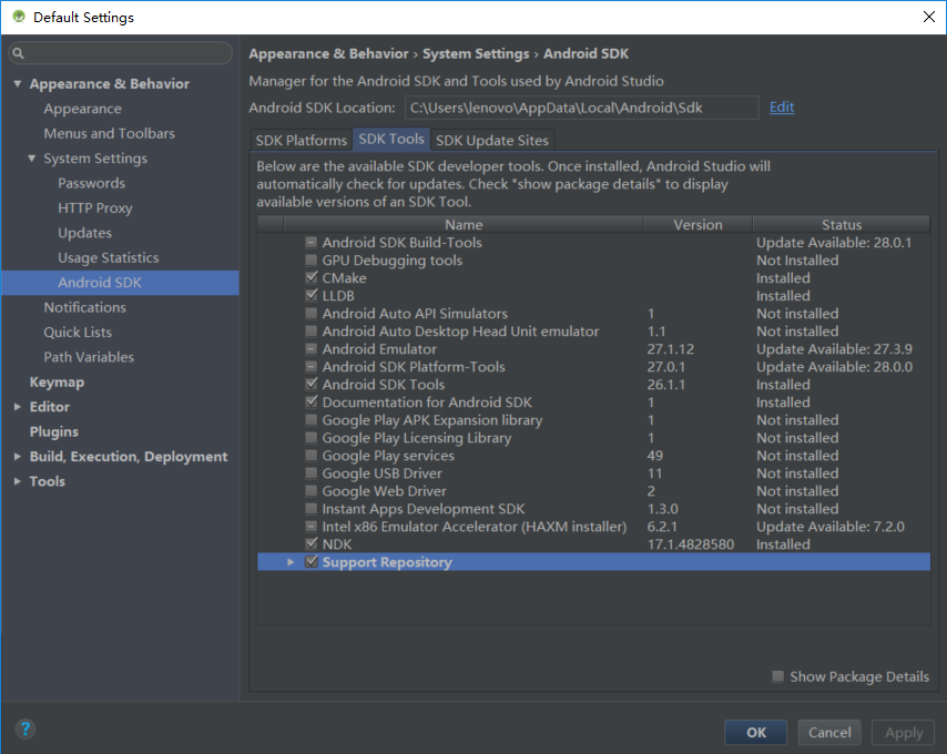 Android NDK environment configuration: Android Studio 3 0 1 + CMAKE