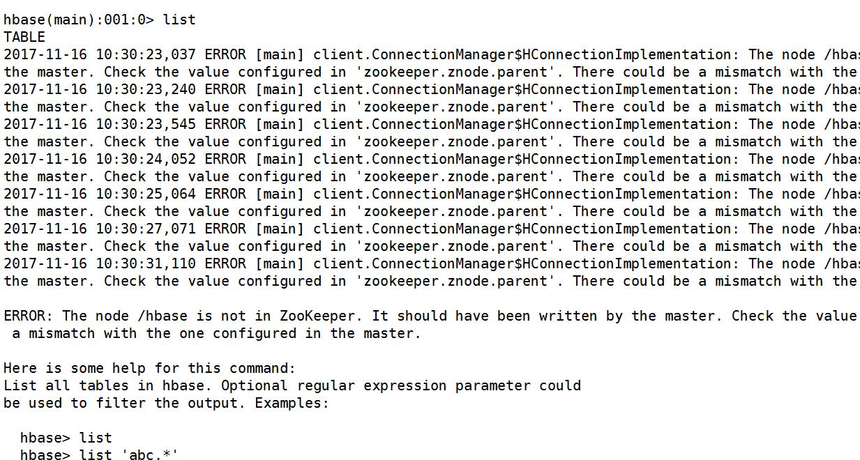 Error] The node/hbase is not in ZooKeeper, Hbase port